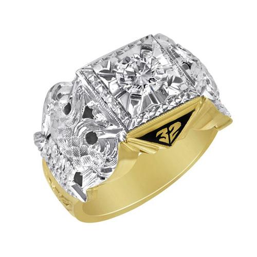 3/8 CT Diamond Jumbo Scottish Rite Ring - 14K Gold