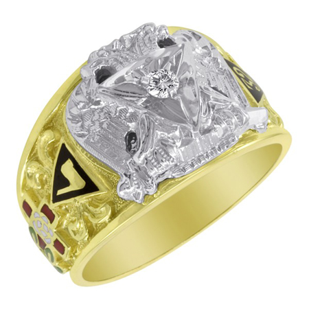 1/10 CT Diamond Scottish Rite Ring - 10k Gold