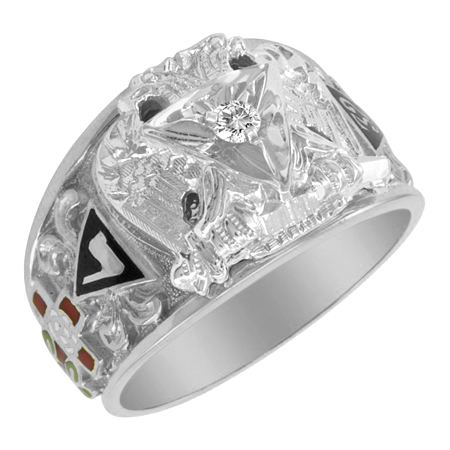 Sterling Silver 1/10 CT Diamond Scottish Rite Ring