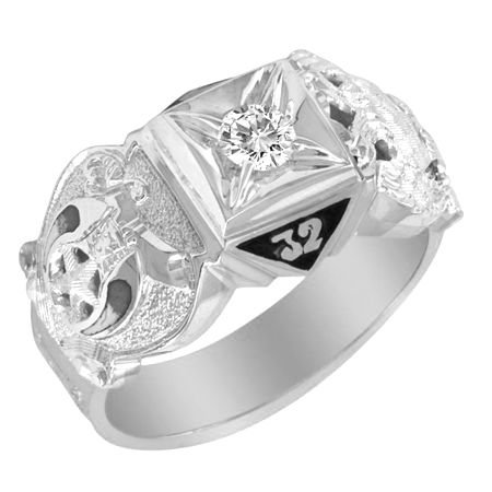 1/4 CT Diamond Scottish Rite Ring - Sterling Silver