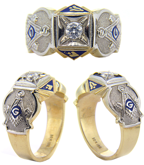 10kt Yellow Gold Masonic Blue Lodge Ring with 1/2 ct Cubic Zirconia