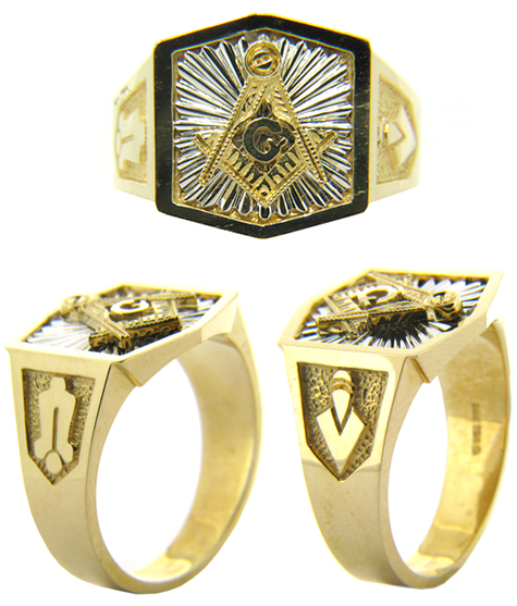 14kt Two-Tone Gold Masonic Ring with Hexagonal Top