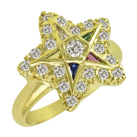 1/2 CT Diamond Eastern Star Ring - 14k Gold