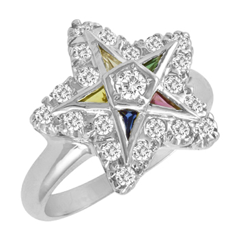 1/2 CT Diamond Eastern Star Ring - Sterling Silver
