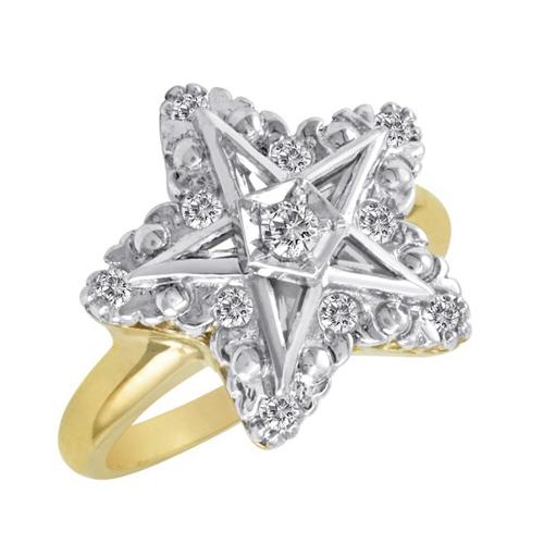 1/4 CT Diamond Eastern Star Ring - 10k Gold