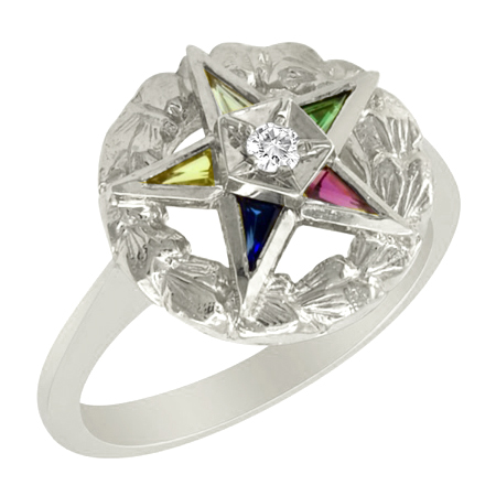 Sterling Silver Eastern Star Wreath Ring with Diamond