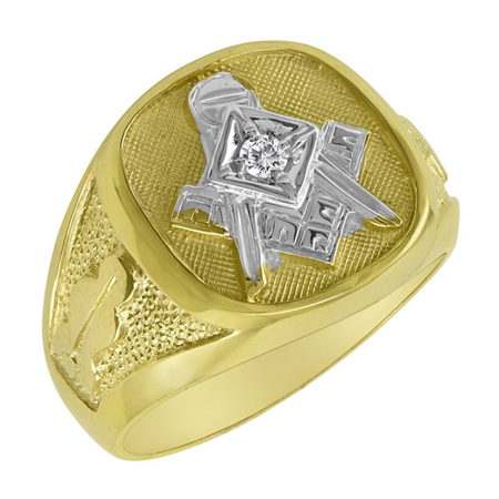 Blue Lodge Ring with Diamond Accent - 14k Gold