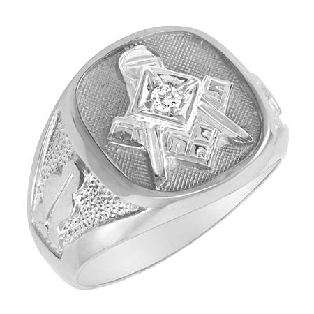 Masonic Ring with Diamond Accent - Sterling Silver