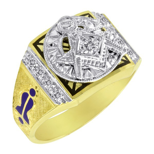 1/4 CT Diamond Blue Lodge Ring  - 14k Gold