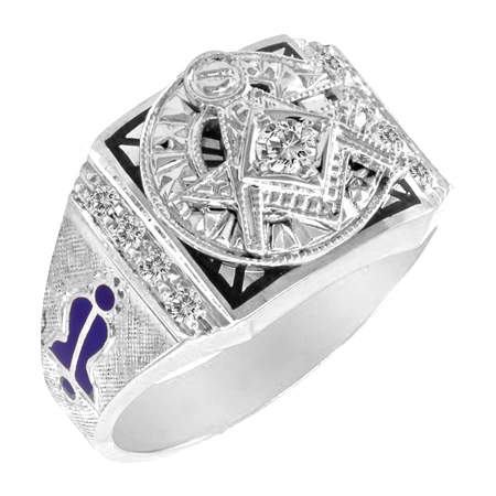 14kt White Gold 1/4 CT Diamond Blue Lodge Ring