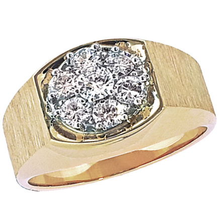 10kt Yellow Gold Men's 1 ct tw Diamond Cluster Ring