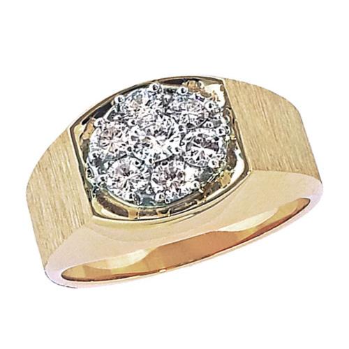 10kt Yellow Gold Men's 1 ct tw Diamond Cluster Ring
