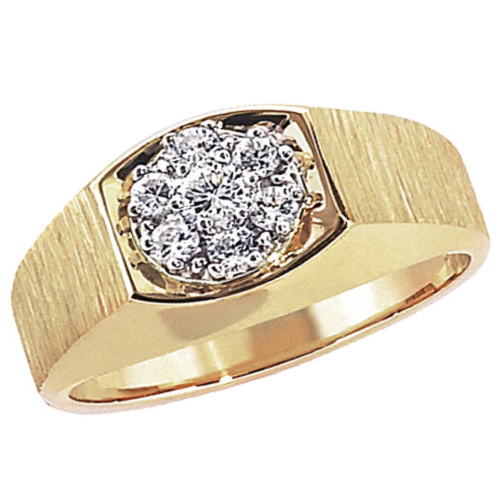 10kt Yellow Gold Men's .50 ct tw Diamond Cluster Ring