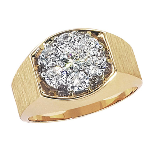 10kt Yellow Gold Men's 1.5 ct tw Diamond Cluster Ring
