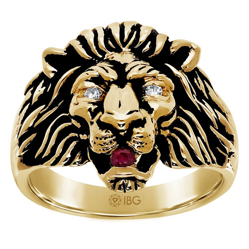 10k Yellow Gold Men's Lion Head Ring with Ruby and Diamonds
