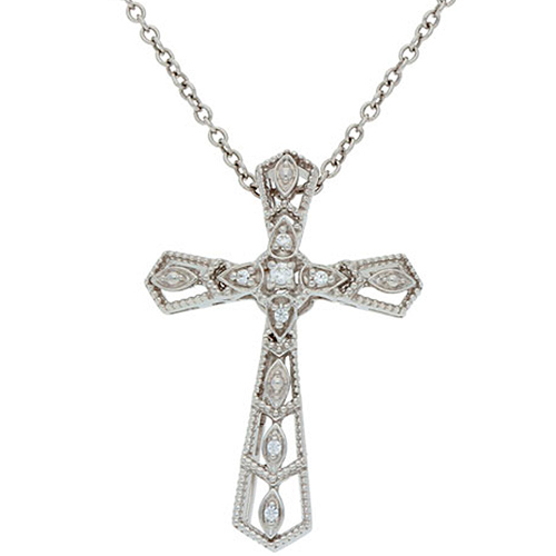 Sterling Silver .02 Diamond Fancy Tapered Cross Necklace