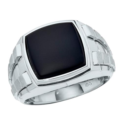 Sterling Silver Men's Black Onyx Ring with Satin Panels