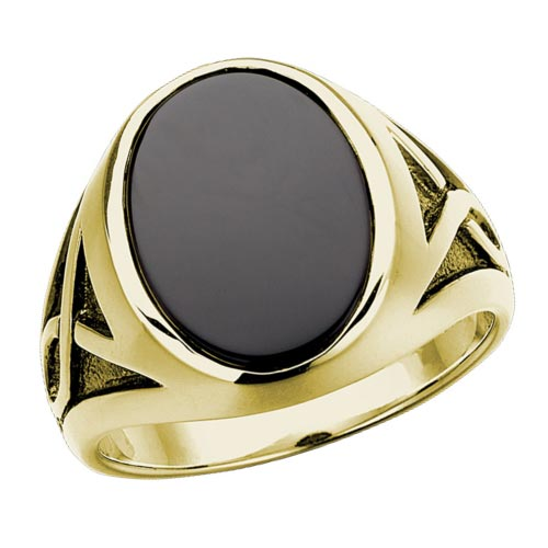 10k Yellow Gold Oval Large Black Onyx Ring with Black Rhodium Accents