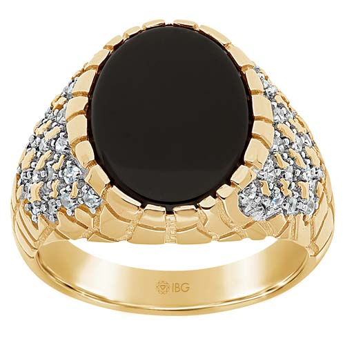 14k Yellow Gold Men's Oval Black Onyx Nugget Ring 1/2 ct tw Diamonds