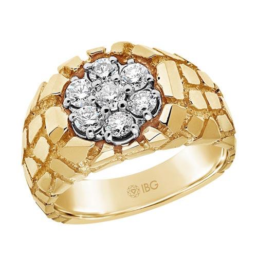 10k Yellow Gold Men's 1 ct tw Diamond Cluster Nugget Ring