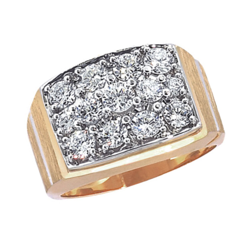 10kt Yellow Gold Men's 2 ct tw Diamond Box Cluster Ring
