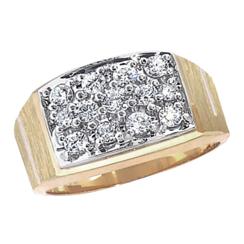 10kt Yellow Gold Men's 1 ct tw Diamond Box Cluster Ring