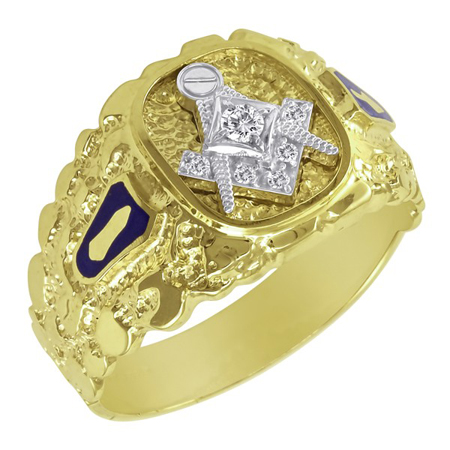 1/10 CT Diamond Blue Lodge Ring - 14k Gold