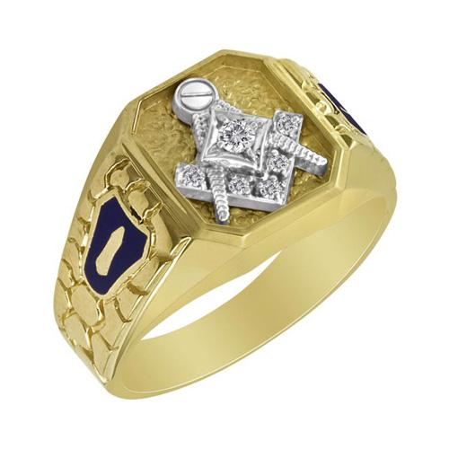 1/10 CT Diamond Blue Lodge Ring - 10k Gold