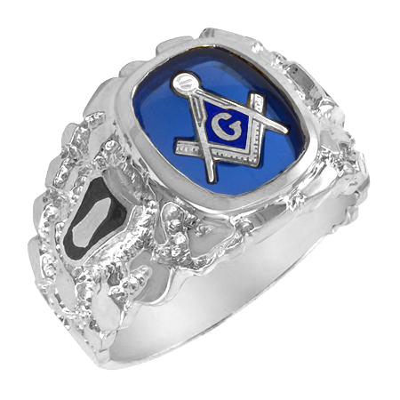 Sterling Silver Blue Lodge Ring with Wide Textured Shank