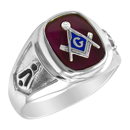Sterling Silver Masonic Ring with Notched Shank