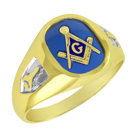 Oblong Blue Lodge Ring - 10k Gold