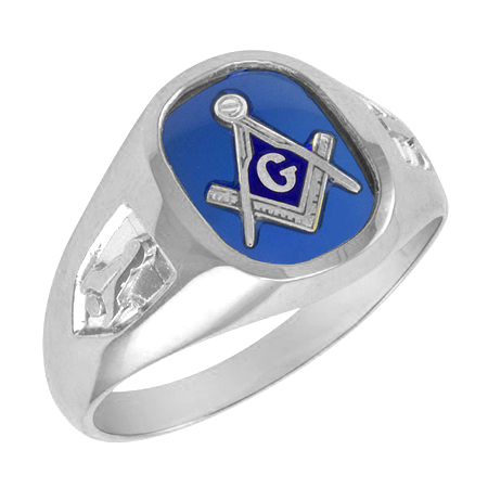 Oblong Blue Lodge Ring - Sterling Silver