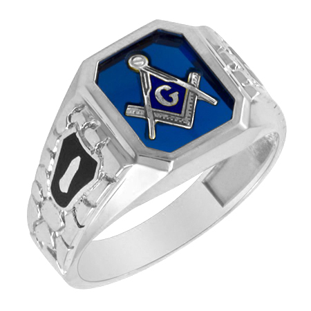 Sterling Silver Masonic Ring with Cobblestone Texture