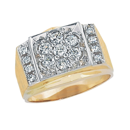 10kt Yellow Gold Men's 1 ct tw Diamond Kentucky Cluster Ring