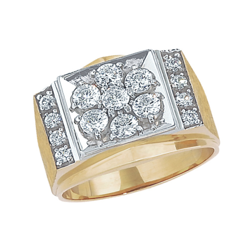10kt Yellow Gold Men's 1.5 ct tw Diamond Kentucky Cluster Ring