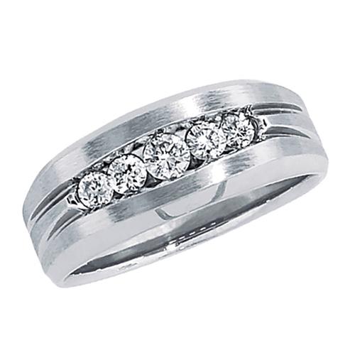 10kt White Gold 1/2 ct tw Diamond Men's Brushed Wedding Band