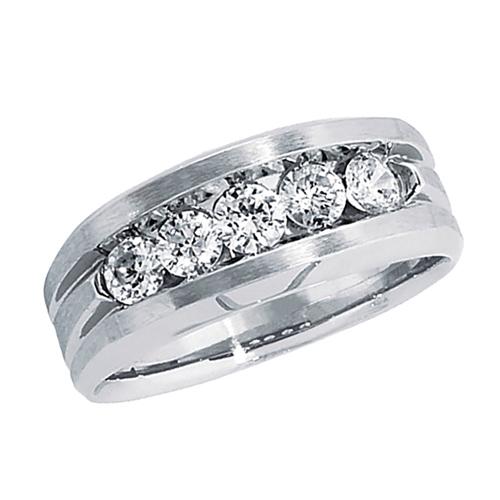 10kt White Gold 1 ct tw Diamond Men's Wedding Band
