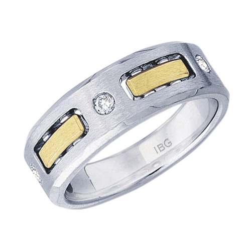 10kt Two-Tone Gold .15 ct tw Diamond Men's Panel Wedding Band