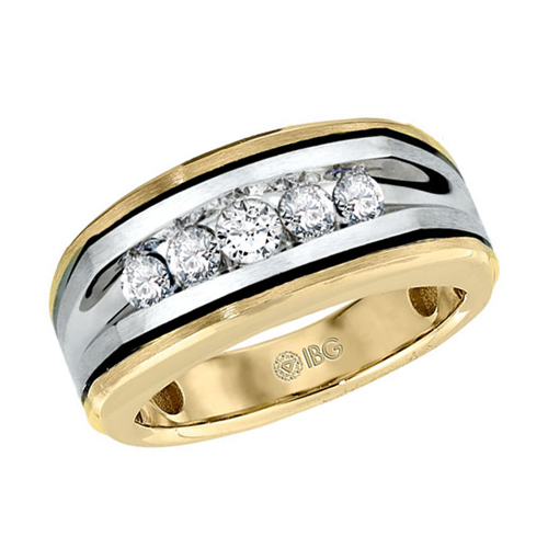 10kt Two-Tone Gold 1/2 ct tw Diamond Men's Wedding Band with Black Rhodium