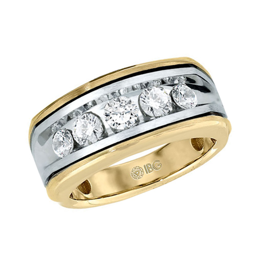 10kt Two-Tone Gold 1 ct tw Diamond Men's Wedding Band with Black Rhodium