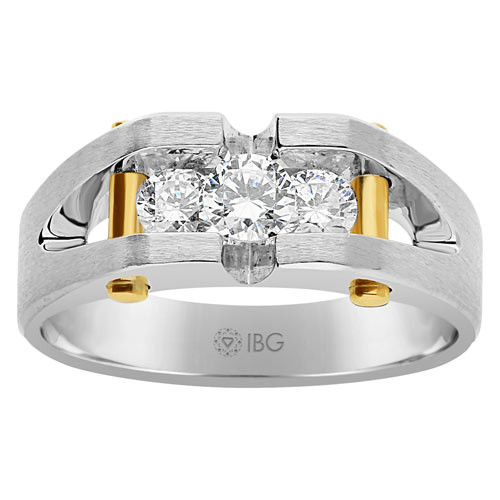 10k White Gold Men's 3/4 ct tw Diamond Ring with Yellow Gold Bars
