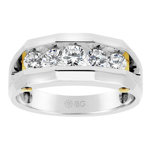 10k White Gold Men's 1 ct tw 5 Stone Diamond Ring with Jaw Accents