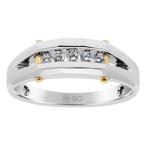 10k White Gold Men's 1/4 ct tw 5 Stone Diamond Ring with Jaw Accents