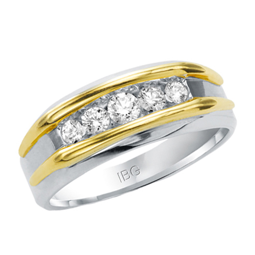 10kt Two-Tone Gold 1/2 ct tw Diamond Men's Wedding Band