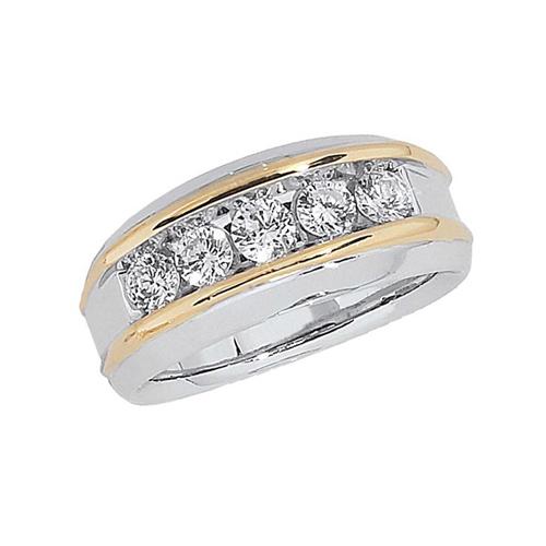 10kt Two-Tone Gold 1 ct tw Diamond Men's Wedding Band