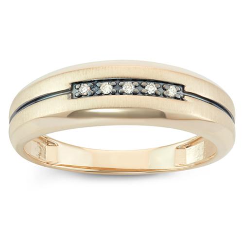 10k Yellow Gold .05ct tw Diamond Men's Wedding Band with Black Rhodium