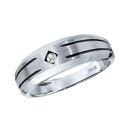 10kt White Gold .05 ct tw Diamond Men's Wedding Band with Black Rhodium Accents