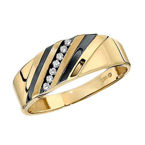 10kt Yellow Gold .07 ct tw Diamond Men's Wedding Band Black Accents