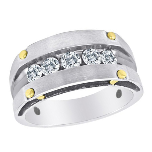 10kt White Gold 1/2 ct tw Diamond Men's Wedding Band with Gold Rivets