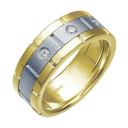 10kt Two-Tone Gold .15 ct tw Diamond Men's Wedding Band
